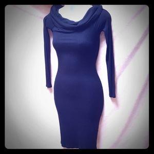 "Forever 21 black""Morticia Addams"" cowl-neck dress"